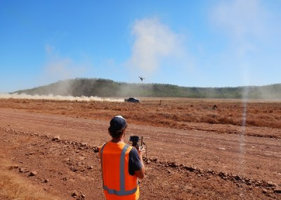 Filming taking place with the use of an unmanned aerial vehicle